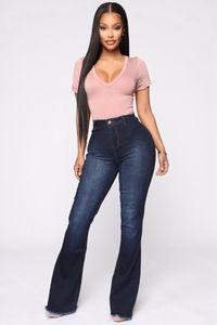 High Waist Flare Bell Bottom Spring Autumn Boot Cut For Women Denim Skinny Jeans Mom Wide Leg Plus Size Pants W0104