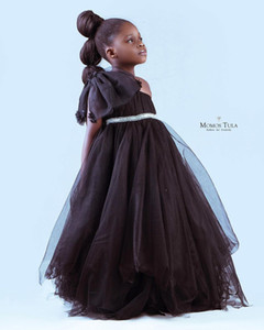 Black One Shoulder 2020 Flower Girl Dresses A-line Tulle Cheap Little Girl Wedding Dresses Cheap Communion Pageant Dresses Gowns ZJ655