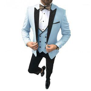 2020 Fashion Light Blue Groom Txedos Hombres Trajes de Boda Solapa MEJOR MEJOR HOMBRE BLAZER 3 PIEZAS GROMESMES TEJERIOR PRESORA DE PRESOR