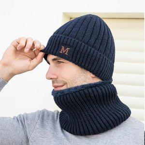 I nuovi uomini Fluffy lavorato a maglia Beanie sciarpa del maschio Autunno Inverno Caps scaldacollo Copricapo Cappello antivento