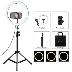 PULUZ 118 inch 30cm Light 11m Tripod Mount Curved Surface USB 3 Modes Dimmable Dual Color Temperature LED Ring Vlogging Video Light Live