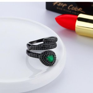 2020 hào shí couples designer serpentl jewelry 925 sterling silver diamond shaped gemstone opening snake ring woman luxury engagemen e28h#