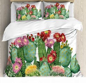 Cactus Decor copripiumino Saguaro Barrel Hedge Hog Fico d'India Opuntia tropicale Botanica Giardino Piantine Set multicolore