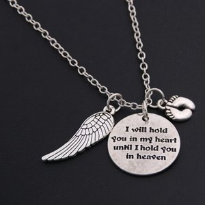 Mother I will hold You in my heart Baby Memorial Angel Footprint Necklace Loss Miscarriage Heaven Pendant Jewelry Gifts Bijoux Accessories