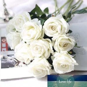 5Pcs 51cm Long Branch Flowers Bouquet Beautiful White Silk Roses Artificial Flowers Wedding Home Table Decor Arrange Fake Flower