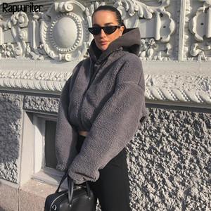 Rapwriter Winter Fashion Turtleneck Long Sleeve Gray Teddy Faux Furry Coat Women Solid Zipper Autumn Jackets Warm Coats 201106