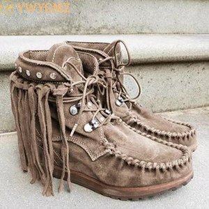 2020 Kış Kadın Ayakkabı Bilek Boots Flats Ayakkabı Patik Gladyatör Vintage Sahte Süet Yuvarlak Burun Lace Up Ayakkabı Püsküller Botaş Mujer