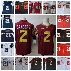 Mens NCAA # 2 Deion Sanders Florida State Seminoles Fútbol jerseys El bordado # 21 Deion Sanders Jersey S-3XL