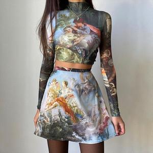 Vintage T Shirt Women Oil Painting Print Long Sleeve Bottom Top Tees Harajuku High Waist Fashion Slim Mini Skirt Two Piece Suit