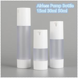 24PCS White Airless Bottle Emulsion Lotion Pump Matte Portable for Cream Foundation Essence 15ML 30ML 50ML