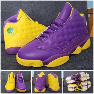 Classic 13 13s Chicago Lakers Court Viola Mens Scarpe da basket Scarpe Jumpman Cap e Abito Abito Flint Sporco Bred Barons Sport Trainer Sneakers 40-47
