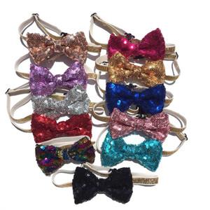 Ajustable PET lentejuelas arqueamiento tocado tocado mascota gato perro corbata cuello correa correa de cuello aseo accesorios mascotas prenda de decoración de navidad