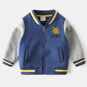 Giacche da baseball da baseball Giacche autunno inverno inverno trendy Baby Zipper Maglione Cappotto ChidLren Bambini Cappotti spessi con lettere e ricamo stella
