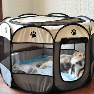 개 텐트 휴대용 하우스 통기성 야외 사육장 울타리 애완 동물 고양이 배달 룸 쉬운 작업 옥각한 playpen 강아지 crate lj201201