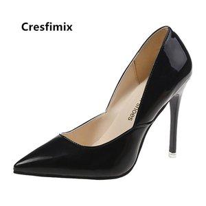 Cresfimix Femmes Mignon Sweet Sweet Black Haute Qualité Cuir Stiletto Mesdames Classic Partie Rouge Chaussures Chaussures Zapatos Dama C9102