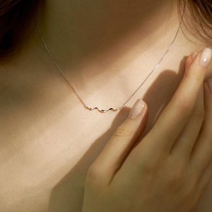MODAONE Simple Minimalistische zierliche Welle Silber Farbe Schlüsselbein Kette Halskette für Frauen Koreanische Modeschmuck Geschenke S925 Stempel