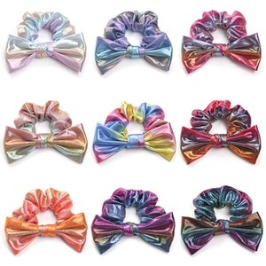 9 colors Fashion Sequin laser Headband Bow Hair band Girls woman Large intestine Ponytail Holder Hairbands kids Hair Accessories Z1876