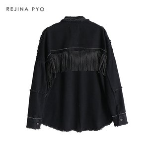 BIAORUINA Women Black High Quality Loose Denim Jacket Coat Sequined Tassels Streetwear All-match Metal Covered Button Outerwear 201004