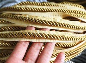 Золото Шампанской Веревки Шнур Drawstring ткань Обрезка 5 Yards Home Decor Толстых 6мм uAfe #