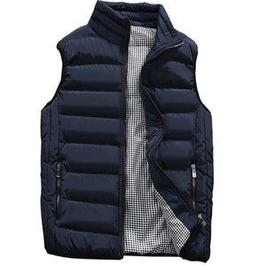 Casual Vest Men Autumn Winter Jackets Thick Vests Man Sleeveless Coats Male Warm Cotton-Padded Waistcoat men gilet veste hommes 201114