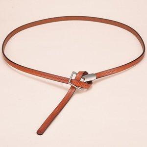 Новый узел галстука из натуральной кожи Ремни для женщин Cowskin Thin Cinturon Mujer Моды Cintura Donna Real Leather Knotted Waistband bbyUKp