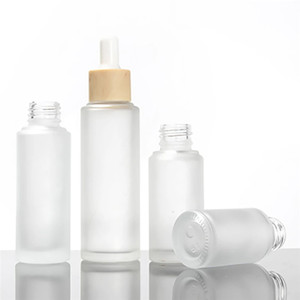 15ml 30ml 50ml Frosted White Glass Dropper Bottle with Bamboo Cap for Liquid Dropper Vials For Cosmetic Perfume