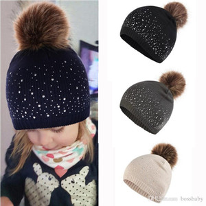 Infant Baby Knit Hats Baby Girls Diamond Hair Hats Kids Solid Caps Kids Boys Outdoor Slouchy Beanies Toddler Baby Gifts 1-3T