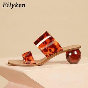Eilyken Sommer Freie PVC-quadratische Zehe-Damen-Schuhe transparente Kristall runde Kugel Heel Hausschuhe Frauen-Leopard-Korn-Gelee-Sandalen C1011