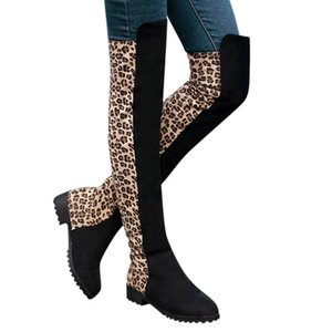 SAGACE Large Size Leopard Long Boots Women Party Slip On Boots Shoes Fashion Round Toe Booties Shoes Ladies Vintage
