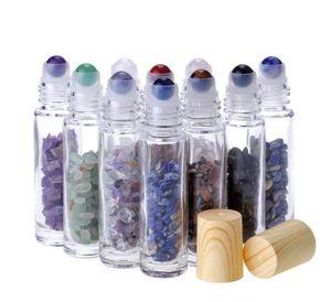 Diffuseur d'huile essentielle Diffuseur 10 ml de verre transparent sur les flacons de parfum avec cristal naturel cristal de quartz en cristal à quartz en cristal de rouleau de roulement en bois