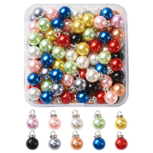 100pcs Plastic Imitation Pearl Pendants Beads Charms with Alloy Findings and Crystal Rhinestone, Round Mixed Color 15x10mm
