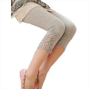 Été 2020 Legging diamant ajourées Modal Pantalons Pantacourt Leg Triangle Side Seven Lace Fashion point Leggings Leggins Hot