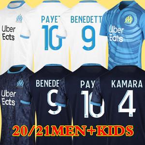 Olympique De Marseille Maillot OM Maillot Homme Enfant Kit 2021 Maillot de Foot 20 21 PAYET BENEDETTO SAKAI KAMARA Football Shirt ÁLVARO