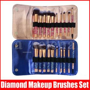 다이아몬드 메이크업 브러쉬 10pcs / 세트 화장품 브러시 가방 전문 메이크업 브러쉬 파우더 아이 브러쉬 키트