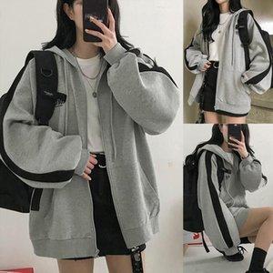 harajuku style Gray Oversize Student Outwear Fashion Women Splicing Hooded Top Long Sleeve Loose korean style Coat Streetwear