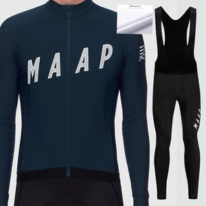 Pro MAAP Men's Winter Thermal Fleece Cycling Sets Cycling Suit Bike Jersey Bicycle Set Clothing Long Sleeves