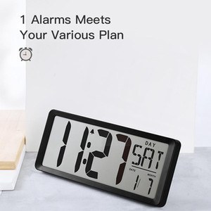 "Extra Large Vision Digital Wall Clock Jumbo Alarm Clock 13.8"" LCD Display Alarm Calendar Indoor Temperature Battery Powered"