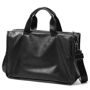 Homens de couro genuíno Grande Briefcase Shoulder Laptop Bag 15 polegadas de couro macio Big Bolsa Multi-camada de Viagem Homens Bolsa de Negócios