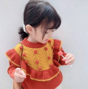 INS Kids Stereo Pompom Sweater New Girls Falbala Long Sleeve Knitted Pullover Children Knitting Jumper Girls princess sweater A4854