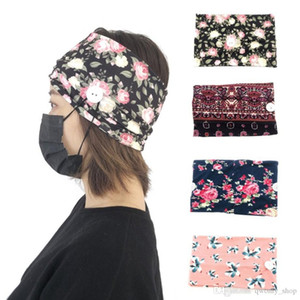 Face Mask Holder Button Headbands Print Sports Yoga Exercise Soft Flower Headwear for Girls Gift Hair Accessories Party Favor 10Colors