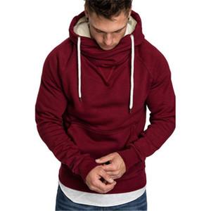 Мужчины вышивка Сращивание Толстовка тенденции мода подросток с длинным рукавом сплошного цвета с капюшоном Топы Дизайнера Мужского Зима Нового руна пуловер Толстовка