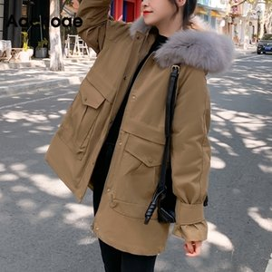 AACHOAE Winter Fashion Solid Parka Mujeres Casual Wool Liner Capucha con capucha Abrigo Cálido Streetwear Pockets Cargo Pedido Jacket 201029