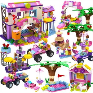 8 In 1 Girl series House Car Playground Building-block Toys Compatible with inglys DIY Educating Children Christmas Gifts
