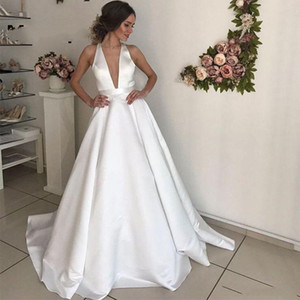 Setwell Deep V-neck A-line Wedding Dresses Sexy Backless Sleeveless Simple Pleated Satin Floor Length Bridal Gowns