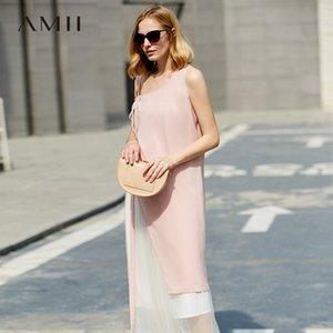 Amii minimalista causal verano mujeres elegante correa sin mangas sólido femenino femenino traje T200508