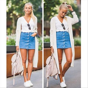 2020 Summer Women Skirt Denim High Waist Casual Bodycon Bandage Button Stretch Pencil Short Mini Skirt Streetwear