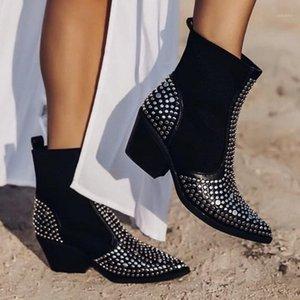 Boussac Серебряные заклепки сексуальные заостренные носки ковбойские сапоги женские черный панк толстые каблуки западные сапоги женские лодыжки для 1