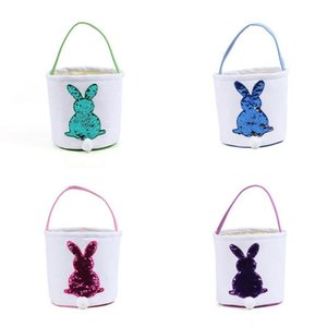 Easter Rabbit Basket Sequins Lucky Egg Baskets Egg Candies Baskets Canvas Bunny Handbags Printed Tote Bag Party Decoration Yfa518