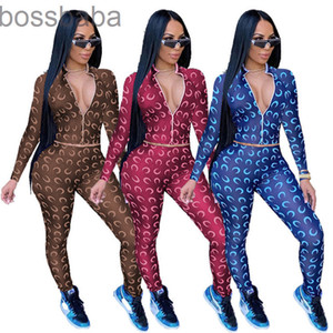 Women Tracksuit Printed Two Pieces Outfits Designer Clothes 2021 Zipper Cardigan Long Sleeve Pants Ladies 2 Piece Jogger Sets 815