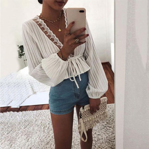 hirigin Sexy 2019 Women Long Lantern Sleeve Loose Blouse Shirts Crop Tops V neck Office Lady T Shirts Tops Outwear Fall Spring